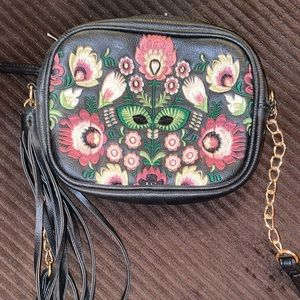 Black with floral embroidery crossbody purse